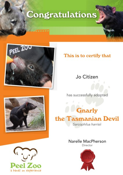 Peel Zoo Animal Adoption Certificate